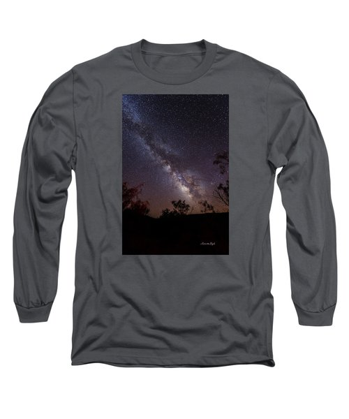 Hot August Night Under The Milky Way Long Sleeve T-Shirt by Karen Slagle
