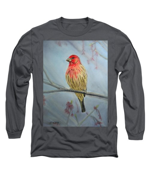 House Finch Long Sleeve T-Shirt by Marna Edwards Flavell