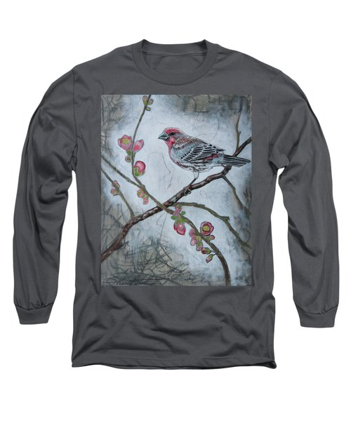 Long Sleeve T-Shirt featuring the mixed media House Finch by Sheri Howe