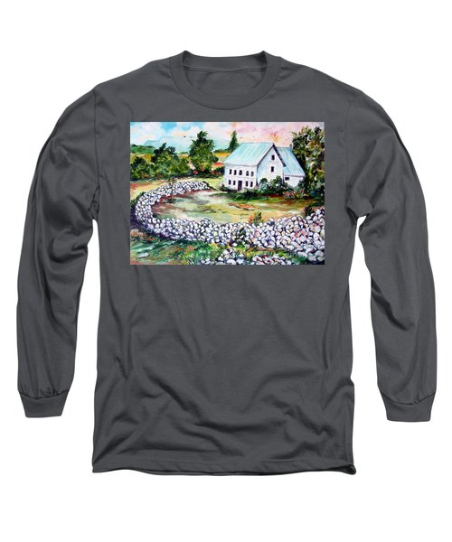 Long Sleeve T-Shirt featuring the painting House In Bosnia H Kalinovik by Roberto Gagliardi