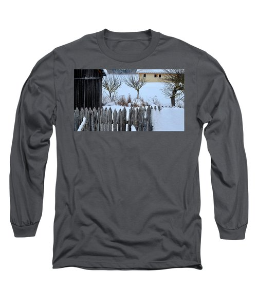 Long Sleeve T-Shirt featuring the photograph House, Shed And Fence by August Timmermans