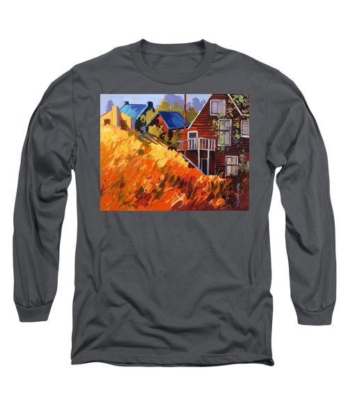 Long Sleeve T-Shirt featuring the painting Houses On The Hill by Rae Andrews