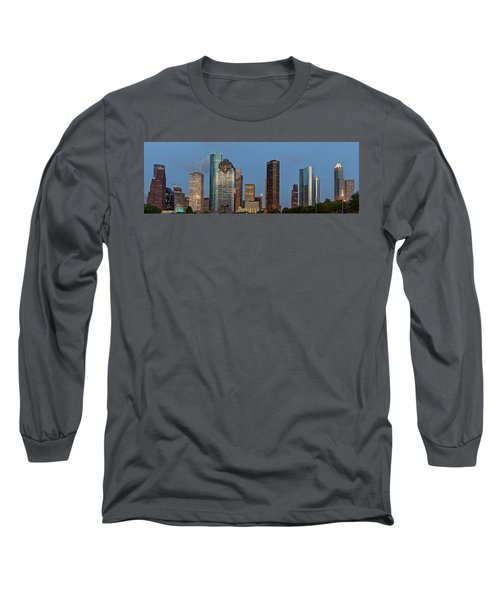 Long Sleeve T-Shirt featuring the photograph Houston Skyline Panorama by Jonathan Davison