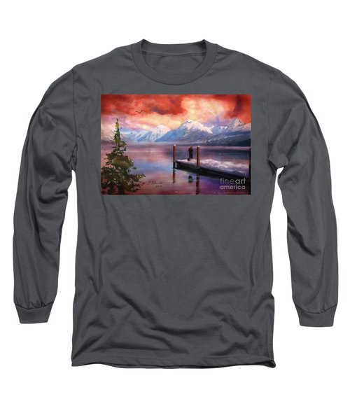 Long Sleeve T-Shirt featuring the painting Hudson Bay Winter Fishing by Judy Filarecki
