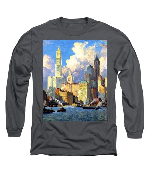 hudson river waterfront - N Y C Long Sleeve T-Shirt