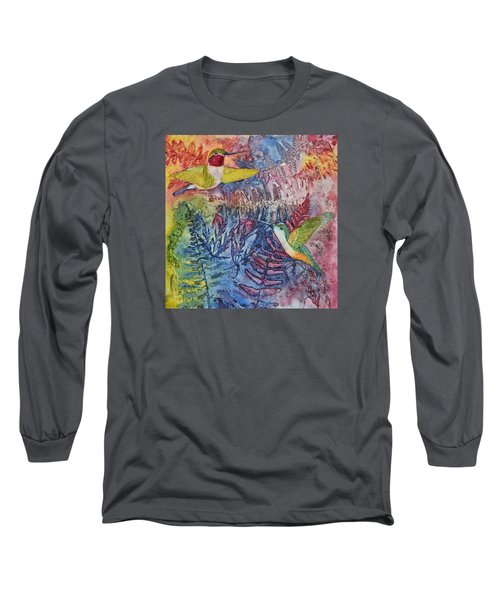 Long Sleeve T-Shirt featuring the painting Hummingbird Duo by Nancy Jolley