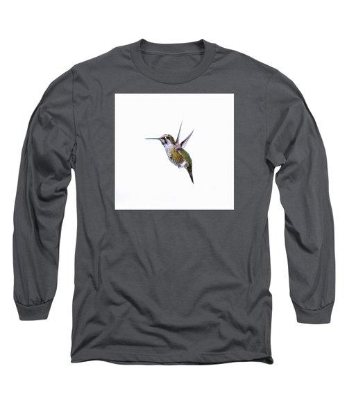Hummingbird In Flight Long Sleeve T-Shirt by E Faithe Lester