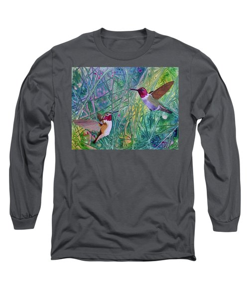 Hummingbird Pair Long Sleeve T-Shirt by Nancy Jolley