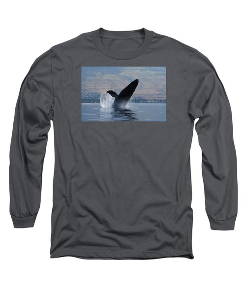Humpback Whale Breach Long Sleeve T-Shirt by Jennifer Ancker