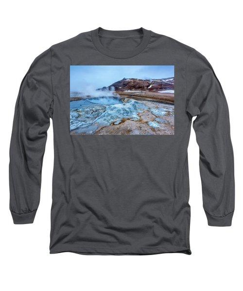 Hverir Steam Vents In Iceland Long Sleeve T-Shirt by Joe Belanger