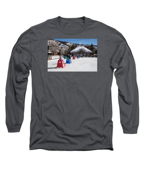 Ice Rink In Downtown Aspen Long Sleeve T-Shirt by Carol M Highsmith