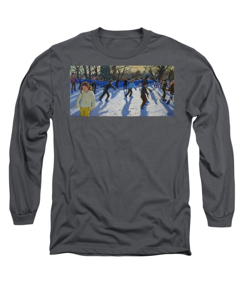 Ice Skaters At Christmas Fayre In Hyde Park  London Long Sleeve T-Shirt by Andrew Macara