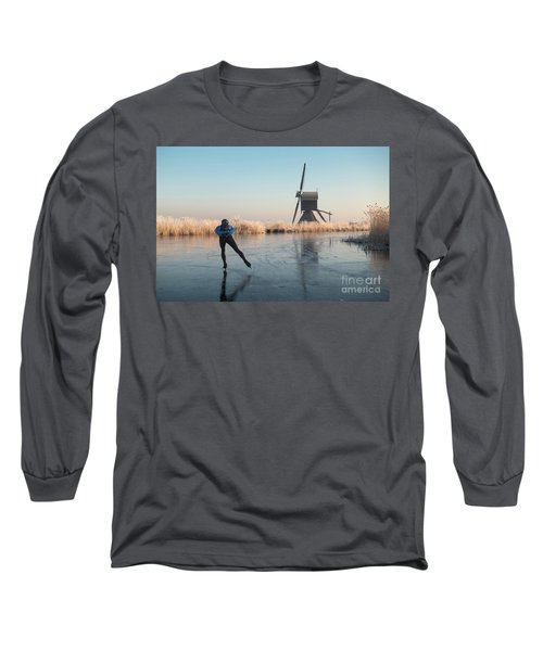 Ice Skating Past Frosted Reeds And A Windmill Long Sleeve T-Shirt