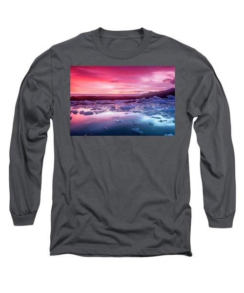 Icebergs In Jokulsarlon Glacial Lagoon Long Sleeve T-Shirt by Joe Belanger