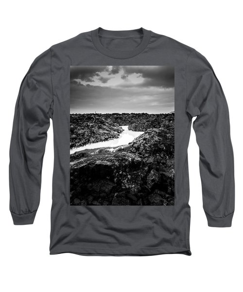 Icelandic Silica Stream In Black And White Long Sleeve T-Shirt