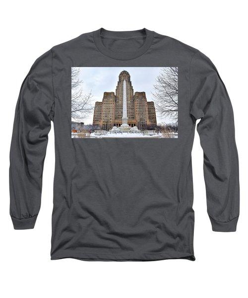 Iconic Buffalo City Hall In Winter Long Sleeve T-Shirt