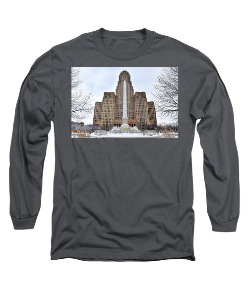 Iconic Buffalo City Hall In Winter Long Sleeve T-Shirt