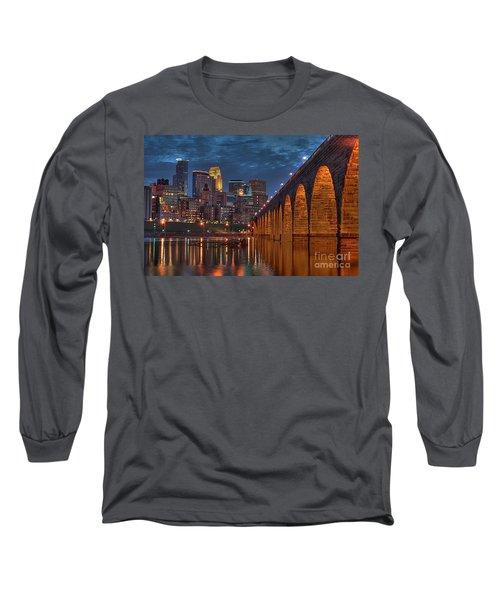Iconic Minneapolis Stone Arch Bridge Long Sleeve T-Shirt