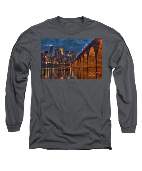 Iconic Minneapolis Stone Arch Bridge Long Sleeve T-Shirt