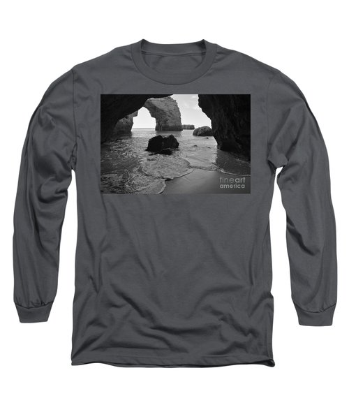 Idyllic Cave In Monochrome Long Sleeve T-Shirt by Angelo DeVal