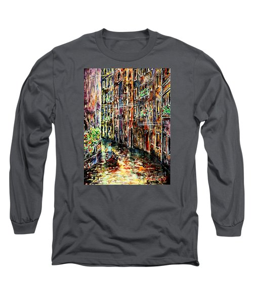Long Sleeve T-Shirt featuring the painting Il Giro Finale Del Gondoliere by Alfred Motzer
