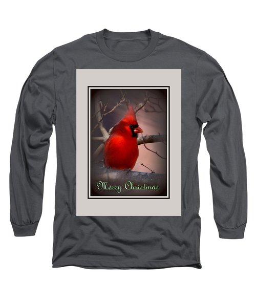 Img_3158-005 - Northern Cardinal Christmas Card Long Sleeve T-Shirt