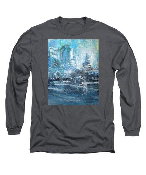 In A Winter Urban Park Long Sleeve T-Shirt by John Fish