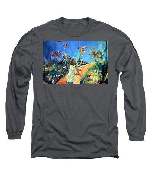 Long Sleeve T-Shirt featuring the painting In The Garden Of Joy by Winsome Gunning
