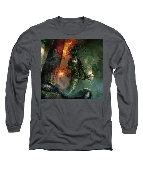 In The Lair Of The Gorgon Long Sleeve T-Shirt by Ryan Barger
