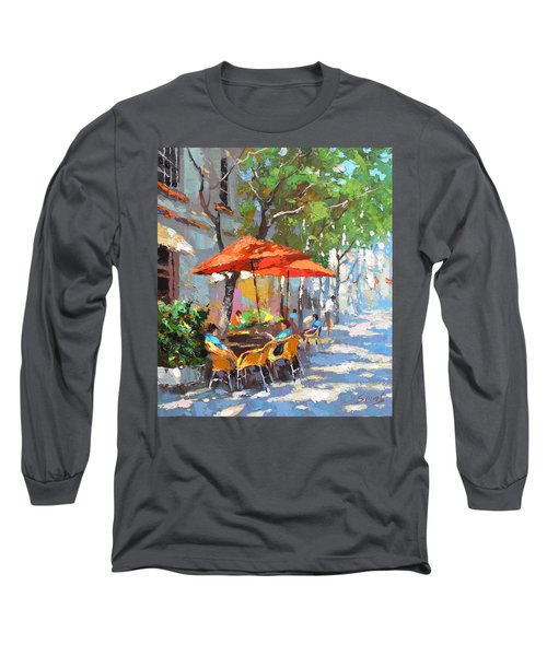 In The Shadow Of Cafe Long Sleeve T-Shirt by Dmitry Spiros
