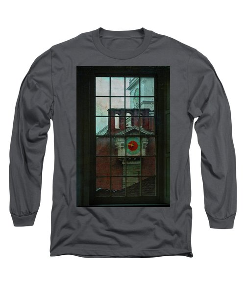 Long Sleeve T-Shirt featuring the photograph Independence Hall Through Congressional Window by Jeff Burgess