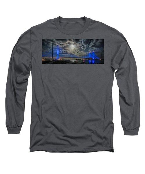 Indian River Bridge Moonlight Panorama Long Sleeve T-Shirt