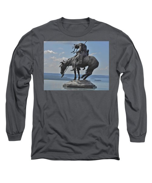 Indian Statue Infinity Pool Long Sleeve T-Shirt by Julie Grace