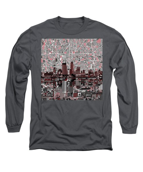 Indianapolis Skyline Abstract 1 Long Sleeve T-Shirt