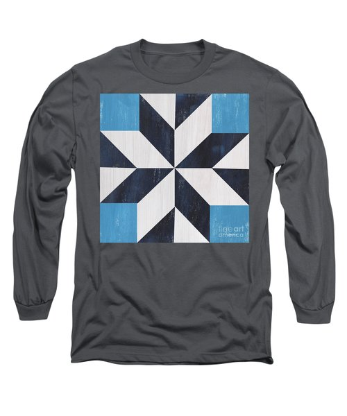 Long Sleeve T-Shirt featuring the painting Indigo And Blue Quilt by Debbie DeWitt