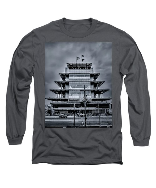 Indy 500 Pagoda - Black And White Long Sleeve T-Shirt