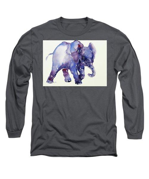 Inky Blue Elephant Long Sleeve T-Shirt