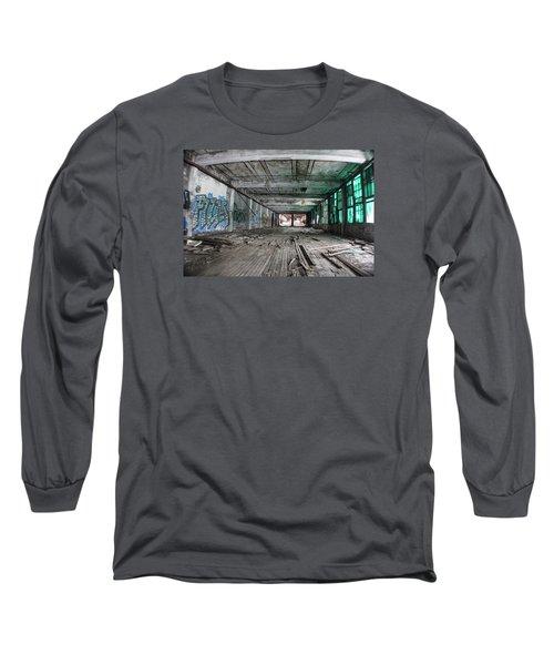 Inside Detroit Packard Plant  Long Sleeve T-Shirt by John McGraw