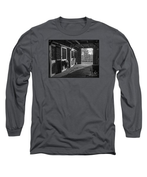 Long Sleeve T-Shirt featuring the photograph Inside The Horse Barn Black And White by Edward Fielding