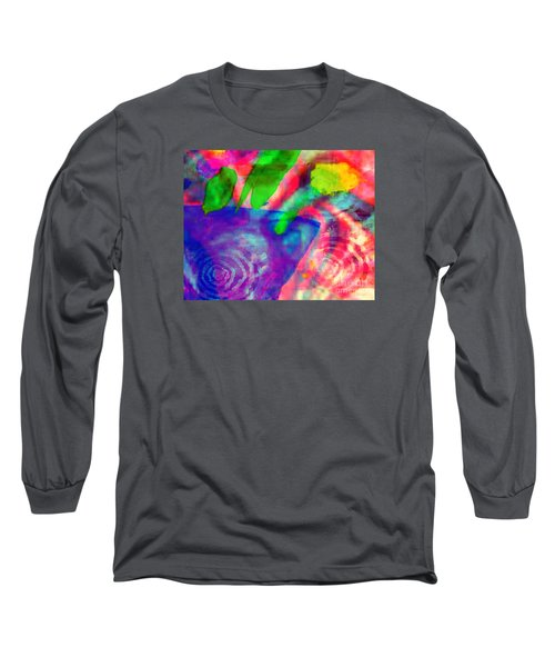 Long Sleeve T-Shirt featuring the mixed media Inspired Flower Pot by Fania Simon