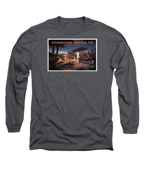 Inter Island Airways-honolulu Hawaii Long Sleeve T-Shirt by Nostalgic Prints
