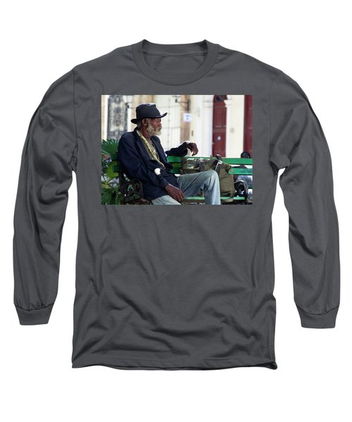 Interesting Cuban Gentleman In A Park On Obrapia Long Sleeve T-Shirt by Charles Harden