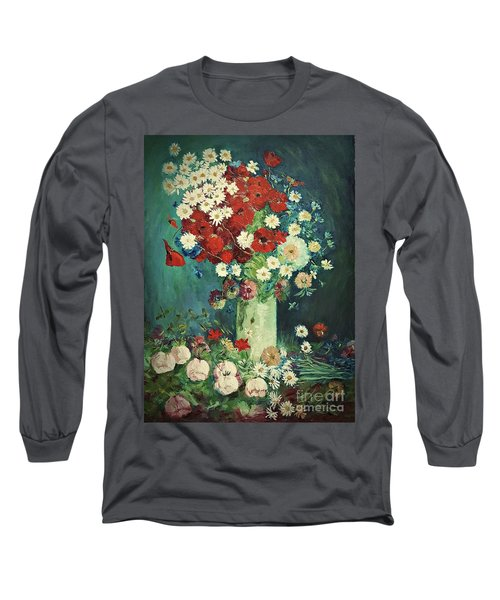 Interpretation Of Van Gogh Still Life With Meadow Flowers And Roses Long Sleeve T-Shirt