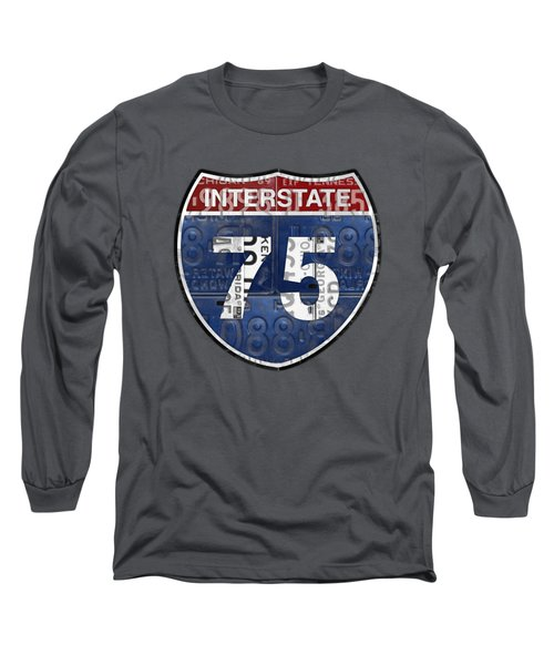 Interstate 75 Highway Sign Recycled Vintage License Plate Art On Striped Concrete Long Sleeve T-Shirt