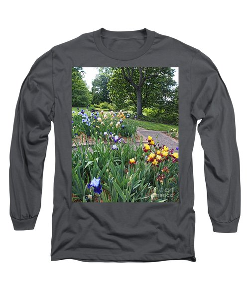 Long Sleeve T-Shirt featuring the photograph Iris With Trees by Nancy Kane Chapman