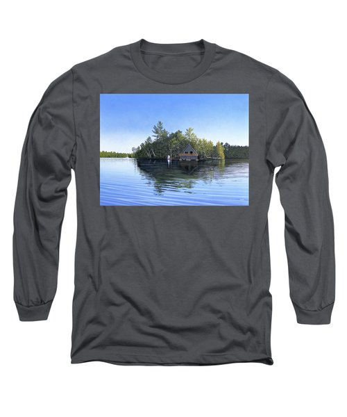 Long Sleeve T-Shirt featuring the painting Island Boathouse Muskoka  by Kenneth M Kirsch