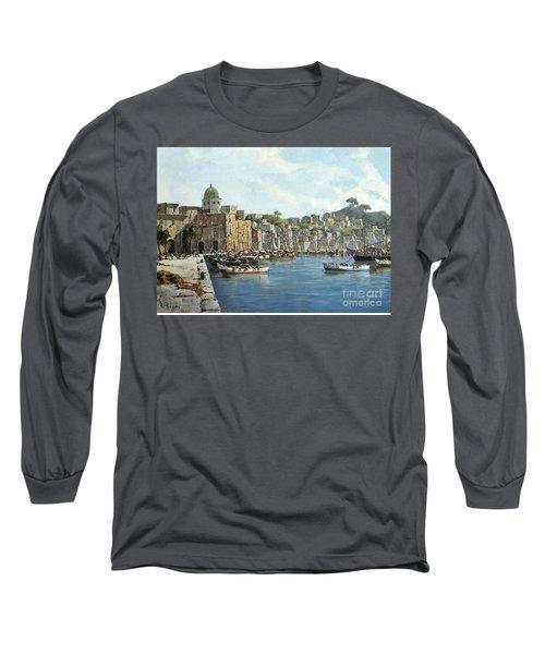 Island Of Procida - Italy- Harbor With Boats Long Sleeve T-Shirt