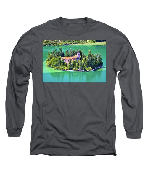 Island Of Visovac Monastery In Krka  Long Sleeve T-Shirt by Brch Photography