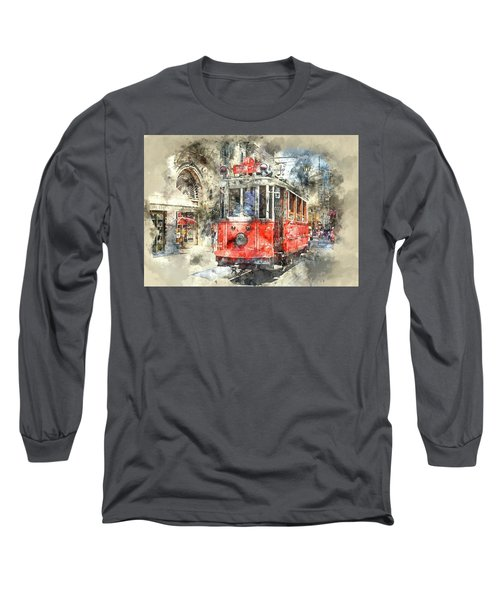 Istanbul Turkey Red Trolley Digital Watercolor On Photograph Long Sleeve T-Shirt