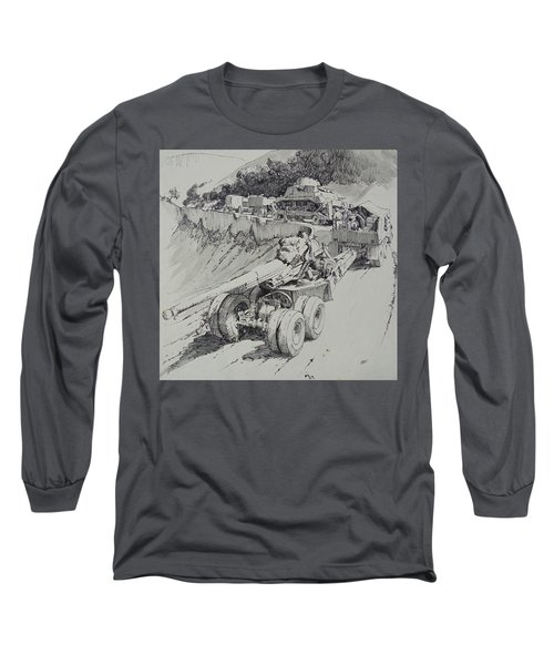 Long Sleeve T-Shirt featuring the drawing Italy 1943. by Mike Jeffries